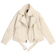 Handmade White Brando Zip Closure Lapel Collar Cowhide Leather Fashion J... - $199.99+
