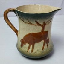 ANTIQUE ROSEVILLE POTTERY UTILITY WATER MILK PITCHER DOUBLE SIDED COW - $93.11