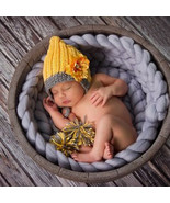 Aby hat pompon winter crochet knit chrysanthemum flower baby caps infant beanie yellow thumbtall