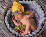 Hat pompon winter crochet knit chrysanthemum flower baby caps infant beanie yellow thumb155 crop