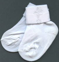 Baby Boys White Embroidered Cross Detail Christening 4-5 size Socks - $17.95