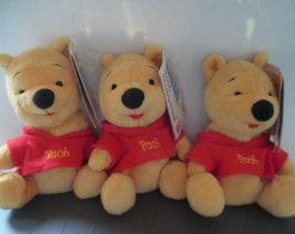 "3 Winnie The Pooh Sitting Pooh Red Shirt Plush Stuffed Animal Toy Doll 7"" 1990s - $15.00"