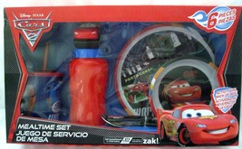 Cars 6 Piece Mealtime Dinnerware Set,Plate,Bowl,Fork&Spoon,Sports Bottle... - $45.53