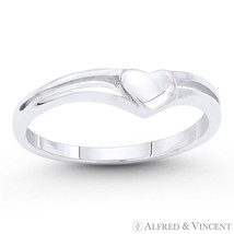 4x4.5mm Heart Love Charm 925 Sterling Silver Curved Band Friendship Promise Ring - $22.39