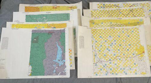 "Vintage 1980 Lot (8) Wyoming Quad Index Map US Dept of Interior 22x16.5"" 2 Sided"