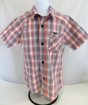 HURLEY Boys Button Down Shirt Plaid Woven Turf Orange Short Sleeves Size 4 - $10.88