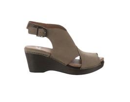 Dansko Leather Wedge Covered Sandals Vanda Taupe Nubuck 38=7.5-8US NEW A... - $83.14
