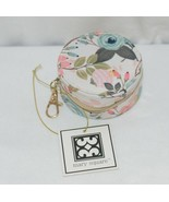 Mary Square 20327 Peach Floral Earbud Case Zip Closure Elastic Bands Inside - $14.00