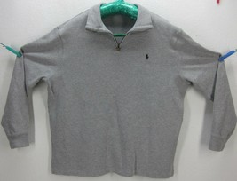 POLO RALPH LAUREN MEN'S XXL 100% COTTON GRAY 1/4 ZIP SWEATSHIRT PONY LOG... - $36.89