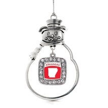 Inspired Silver Arkansas Outline Classic Snowman Holiday Christmas Tree Ornament - $14.69