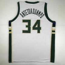 New GIANNIS ANTETOKOUNMPO Milwaukee White Custom Stitched Basketball Jer... - $49.99