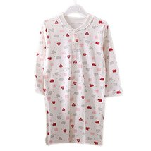 Pink Print WHITE Infant Sleepwear Baby Toddler Cheese Cloths Nightgown 80-90Cm