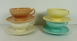 Franciscan Coronado 4 Cups & Saucers Matte Satin Mixed Colors Swirl Vint... - $28.69