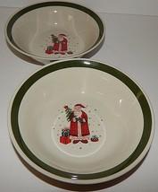Christmas Holiday Santa Claus Present Tree Dessert Bowls Green Rim Stone... - $24.74