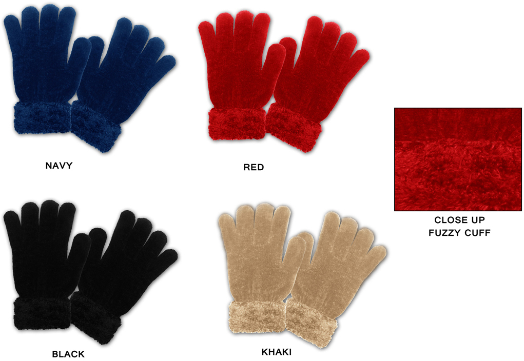 Case of [24] Women's Chenille Gloves