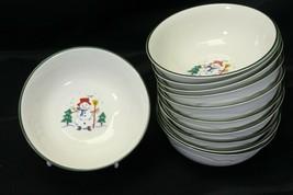 "Pfaltzgraff Snow Village Xmas Soup Bowls 6.125"" Lot of 11 - $68.59"