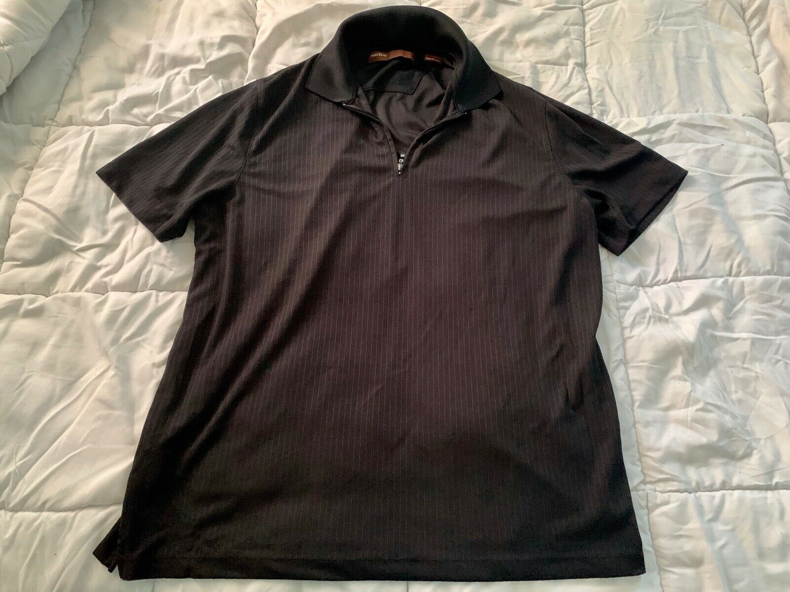Primary image for PERRY ELLIS Men's Half Zip Polo Shirt Size Large Black Short Sleeve