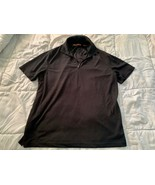 PERRY ELLIS Men's Half Zip Polo Shirt Size Large Black Short Sleeve - $13.85
