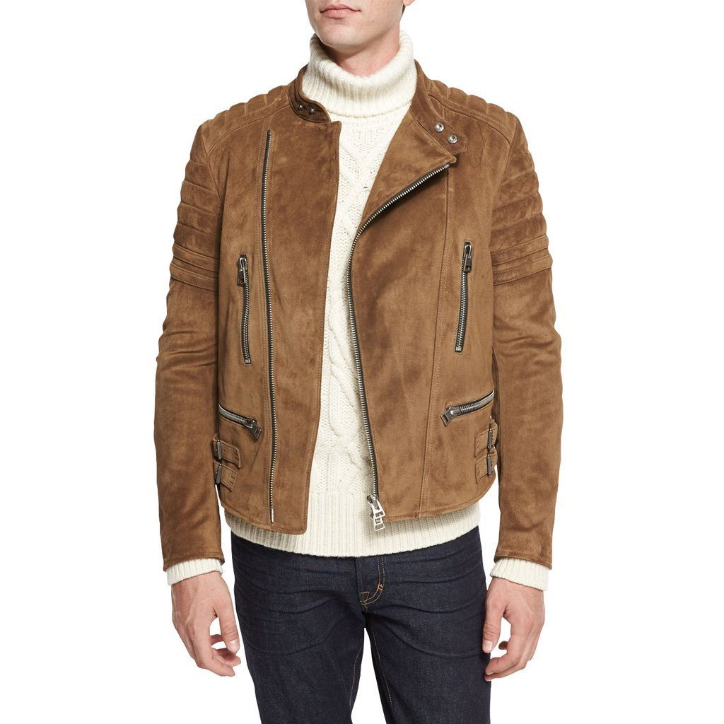 Suede Leather Men Biker Leather Jacket