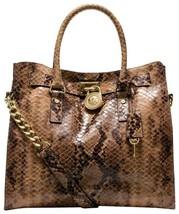 MICHAEL KORS HAMILTON LARGE TAN BROWN SAND SNAKE PYTHON GOLD TOTE BAG PU... - $248.00