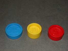 Fisher Price Set of 3 Cash Register Coins 926 Red Blue Yellow 1974 - $15.00