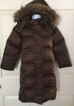 EUC Gap Girls Size XS 4-5years Brown Puffer 75% Down Coat With Fur Trim Hood - $45.00