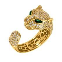 Ricoperto di Diamanti' Panther Anello 14K Oro Finire Over Sterling Finto... - $91.91