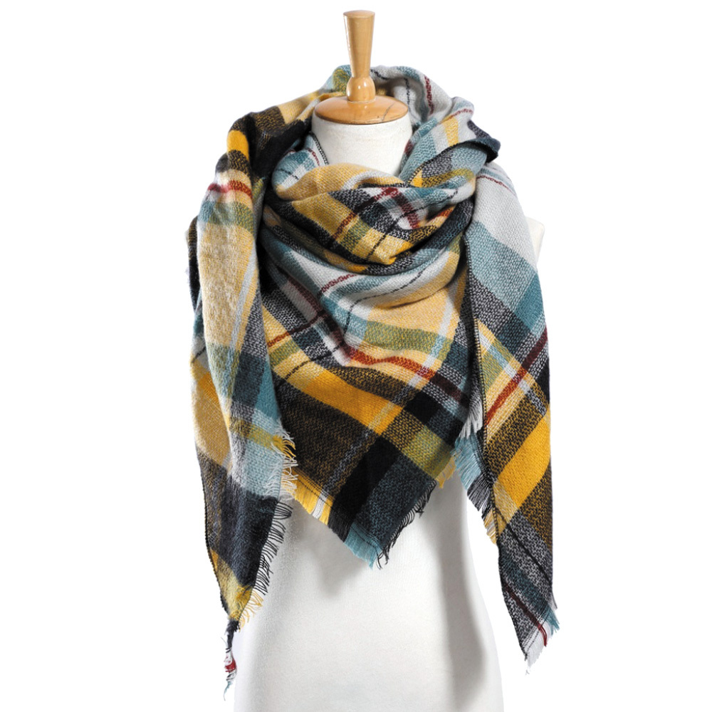 "Top quality Winter Scarf Plaid Scarf Designer Unisex Acrylic Basic Shawls Women"" image 6"