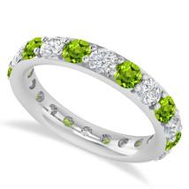 2.50 Ct Round Real Diamond & Peridot 14K Gold Full Eternity Wedding Band... - €716,88 EUR