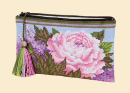 Cross Stitch Kit Hand Embroidery Flowers Cosmetic bag Summer Bouquet - $28.00