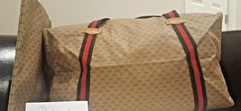 Authentic GUCCI VINTAGE TAN MONOGRAM GG LOGO RED/GREEN STRAP DUFFLE BAG ... - $480.00