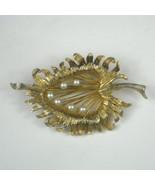 Vintage Leaf Brooch 2.6 In Goldtone Pin Estate Faux Pearl Leaves Autumn ... - $24.74