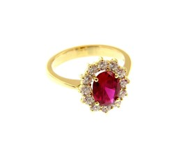 18K YELLOW GOLD FLOWER RING BIG OVAL 9x7mm RED CRYSTAL CUBIC ZIRCONIA FRAME image 1