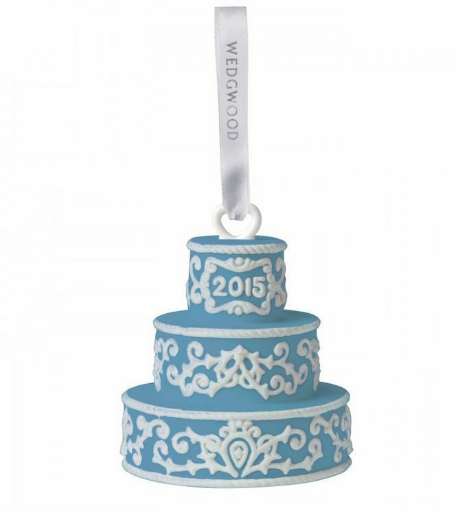 2015 Wedgwood Blue Our First Christmas Together Wedding Cake Ornament NEW