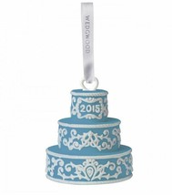 2015 Wedgwood Blue Our First Christmas Together Wedding Cake Ornament NEW  - $39.59