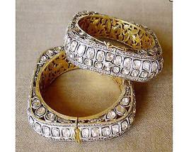 Uncut Pave 13.82Ctw Rose Cut Diamond Polki Bracelet Pair ue03121 - $4,985.00