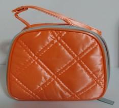 Clinique Plastic Neon Orange Makeup Case Travel Pouch Cosmetic Bag Zip Closure - $5.99