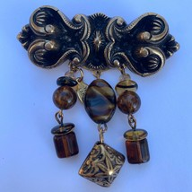 Signed Three Ladies Dangle Bar Brooch Pin Art Nouveau Style Glass Bead - $14.80