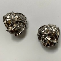 Signed Celebrity Clip On Earrings Vintage Chunky Silver Tone Open Work K... - $14.80