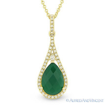 1.86 ct Green Agate & Diamond Tear-Drop Halo Necklace Pendant in 14k Yellow Gold - $530.63