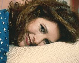 Carrie Fisher portrait in blue top lying down smiling circa 1980 16x20 C... - $69.99