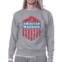 American Warrior Unisex Graphic Sweatshirt Gray Crewneck Pullover - $20.99+
