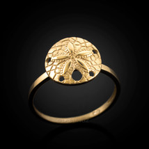 14K Dainty Gold Sand Dollar Ladies Ring - £78.91 GBP