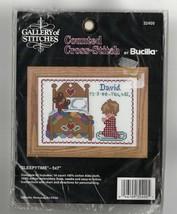 Vintage Bucilla Counted Cross Stitch Kit Sleepytime Birth Announcement Boy - $17.20