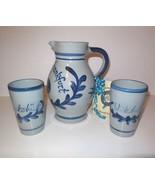 Wine Bembel Pitcher with 2 Mugs Germany Frankfurt Stoneware Pottery 1 Liter - $40.00