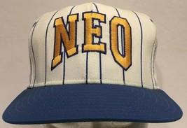 Northeastern Oklahoma A & M NEO Striped Snapback Hat Cap Blue Gold Vinta... - $28.04