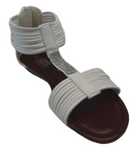 Womens White Crystal Rhinestone Gladiator Sandals Zipper Back Low Wedge ... - $19.99