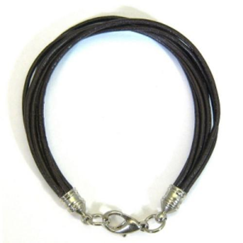 BLACK REAL LEATHER TOP QUALITY BRACELET WITH THREAD STRAPS BOOTLACES WITH CLASP