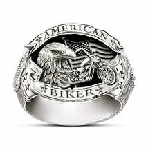 Huitan Carved Words American Biker Men Ring Motorcycle Freedom Eagle Animal - $2.81+