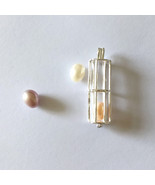 925 Sterling Silver Hollow Tube Cage Pendant Pearl Gem Bead Cage Pendant... - $15.79